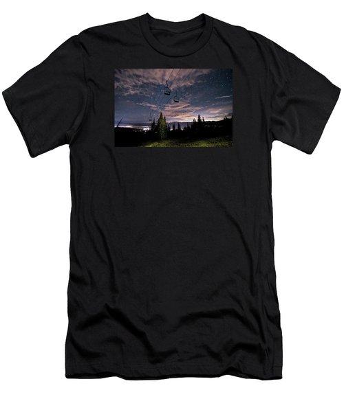 Breckenridge Chairlift Under Stars Men's T-Shirt (Slim Fit) by Michael J Bauer