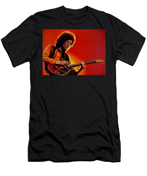 Brian May Of Queen Painting Men's T-Shirt (Slim Fit) by Paul Meijering
