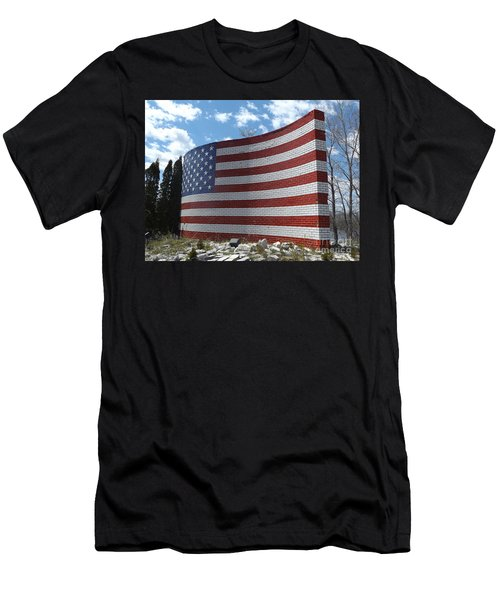 Brick American Flag Men's T-Shirt (Athletic Fit)