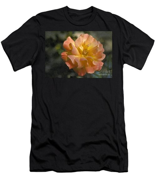 Men's T-Shirt (Slim Fit) featuring the photograph Bridal Pink Yellow Hybrid Tea Rose Genus Rosa by David Zanzinger