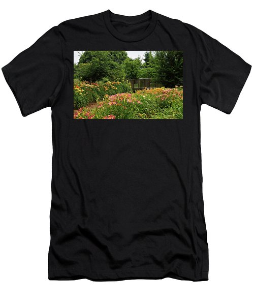Men's T-Shirt (Slim Fit) featuring the photograph Bridge In Daylily Garden by Sandy Keeton