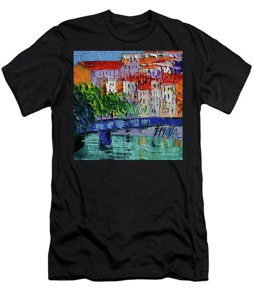 Bridge On The Saone River - Lyon France - Palette Knife Oil Painting By Mona Edulesco Men's T-Shirt (Athletic Fit)