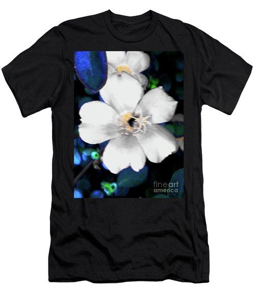 Bright Blue Accents White Vinca Men's T-Shirt (Athletic Fit)