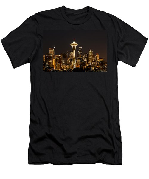 Bright At Night - Space Needle Men's T-Shirt (Athletic Fit)