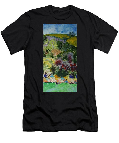 Brightly Colored Devon Landscape - Dartmouth England Men's T-Shirt (Athletic Fit)