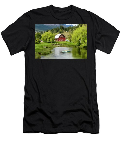 Brinnon Washington Barn By Pond Men's T-Shirt (Athletic Fit)