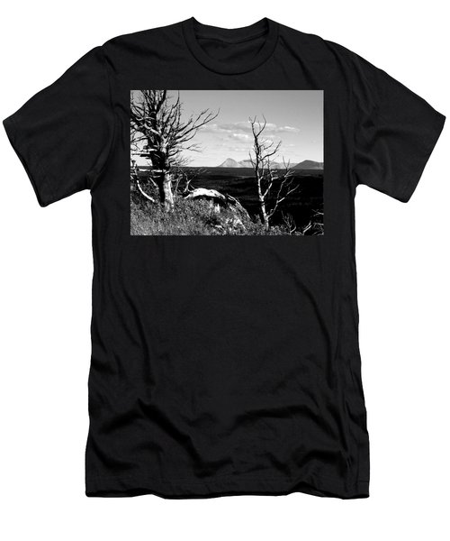 Bristle Cone Pines With Divide Mountain In Black And White Men's T-Shirt (Slim Fit)