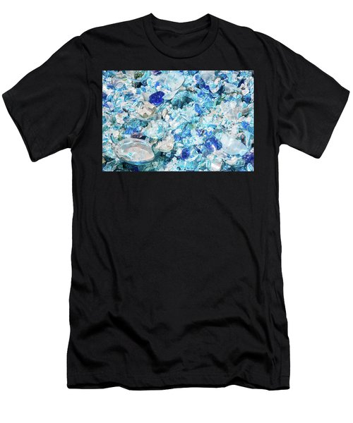 Men's T-Shirt (Athletic Fit) featuring the photograph Broken Glass Blue by Melissa Lane