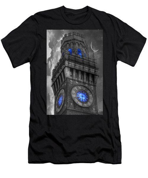 Men's T-Shirt (Athletic Fit) featuring the photograph Bromo Seltzer Tower Baltimore - Blue  by Marianna Mills