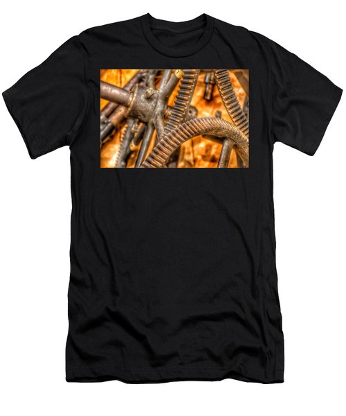 Men's T-Shirt (Athletic Fit) featuring the photograph Bromo Seltzer Tower's 1911 Seth Thomas Clock Mechanism Abstract #6 by Marianna Mills