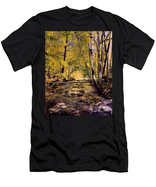 Brook In Stowe Vermont Men's T-Shirt (Slim Fit) by Laurie Rohner