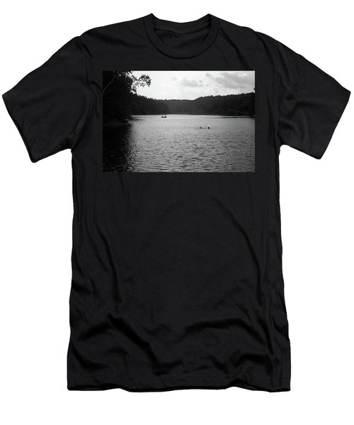 Men's T-Shirt (Slim Fit) featuring the photograph Brookfield, Vt - Swimming Hole Bw 2 by Frank Romeo