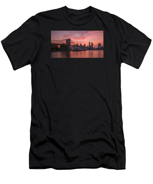 Men's T-Shirt (Slim Fit) featuring the photograph Brooklyn Bridge Sunset by Scott McGuire