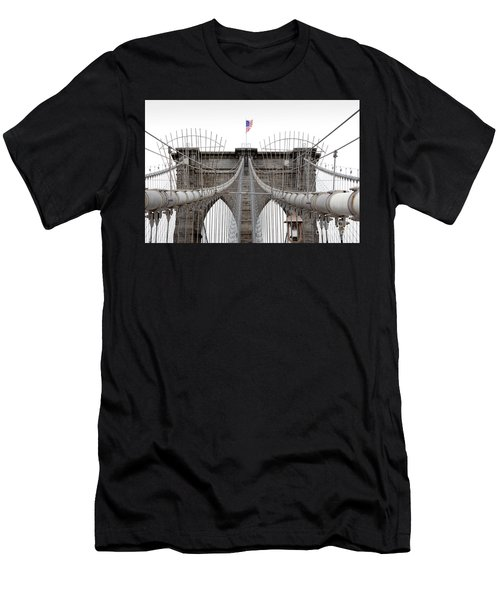 Men's T-Shirt (Athletic Fit) featuring the photograph Brooklyn Bridge Top by Peter Simmons