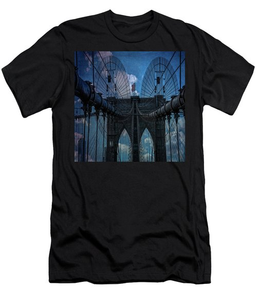 Men's T-Shirt (Athletic Fit) featuring the photograph Brooklyn Bridge Webs by Chris Lord