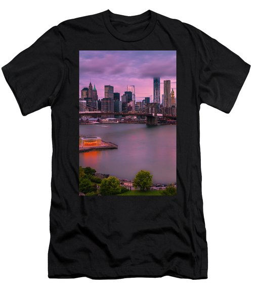 Men's T-Shirt (Slim Fit) featuring the photograph Brooklyn Bridge World Trade Center In New York City by Ranjay Mitra