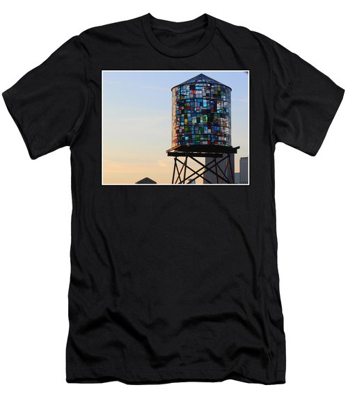 Brooklyn's Glowing Glass Water Tower - Public Art Men's T-Shirt (Athletic Fit)