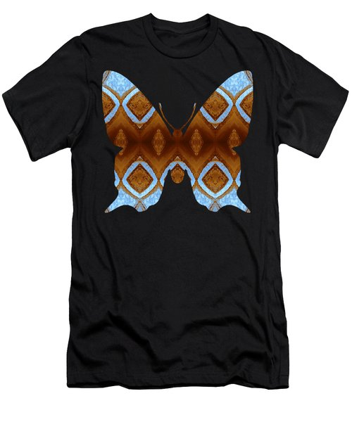 Brown And Blue Butterfly Men's T-Shirt (Athletic Fit)