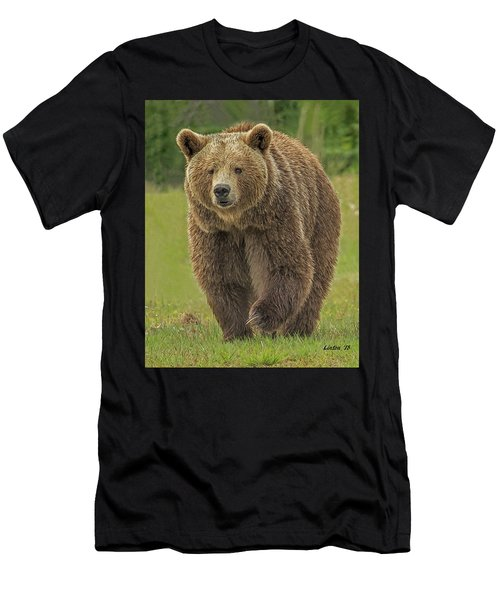 Men's T-Shirt (Athletic Fit) featuring the digital art Brown Bear 1 by Larry Linton