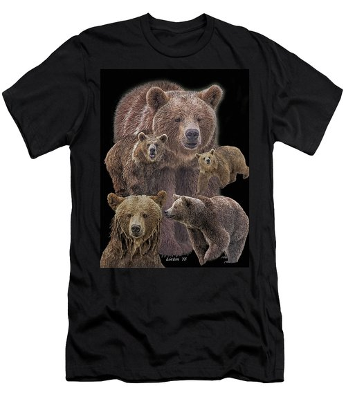 Men's T-Shirt (Athletic Fit) featuring the digital art Brown Bears 8 by Larry Linton