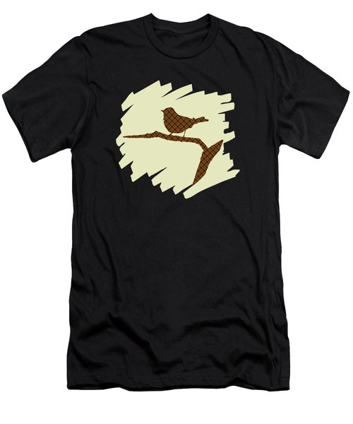 Brown Bird Silhouette Modern Bird Art Men's T-Shirt (Athletic Fit)