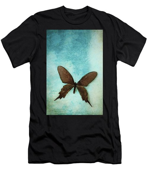 Brown Butterfly Over Blue Textured Background Men's T-Shirt (Athletic Fit)