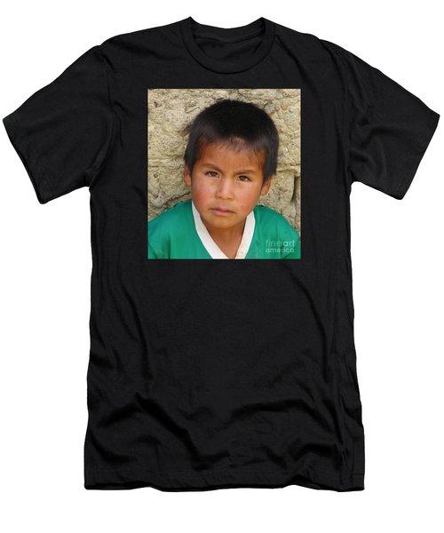 Brown Eyed Bolivian Boy Men's T-Shirt (Athletic Fit)