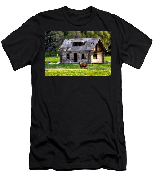 Brown Horse And Old Log Cabin Men's T-Shirt (Athletic Fit)