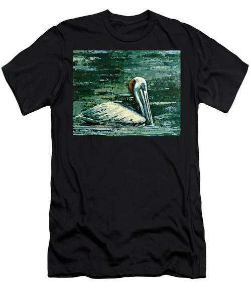 Men's T-Shirt (Slim Fit) featuring the painting Brownie Swimming In Green Water by Suzanne McKee