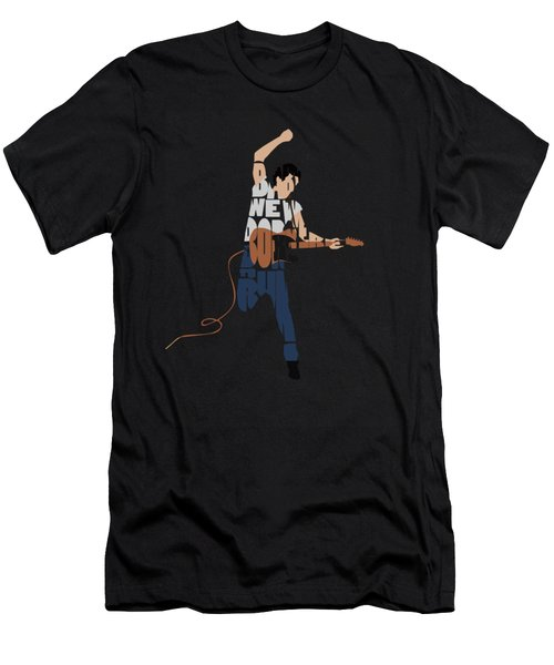 Bruce Springsteen Typography Art Men's T-Shirt (Athletic Fit)