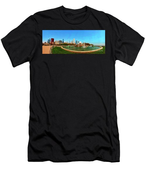 Men's T-Shirt (Athletic Fit) featuring the photograph Buckingham Fountain Chicago Grant Park by Tom Jelen