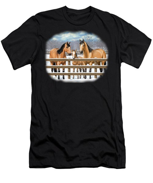 Buckskin Quarter Horses In Snow Men's T-Shirt (Athletic Fit)