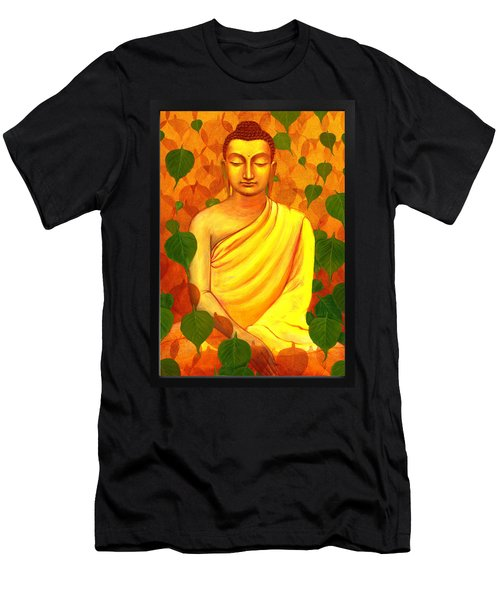 Buddha In Green Leaves Men's T-Shirt (Athletic Fit)