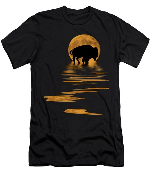 Buffalo In The Moonlight Men's T-Shirt (Slim Fit) by Shane Bechler