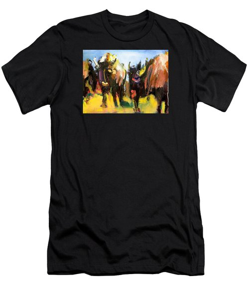 Men's T-Shirt (Slim Fit) featuring the painting Buffalo Lips by Les Leffingwell