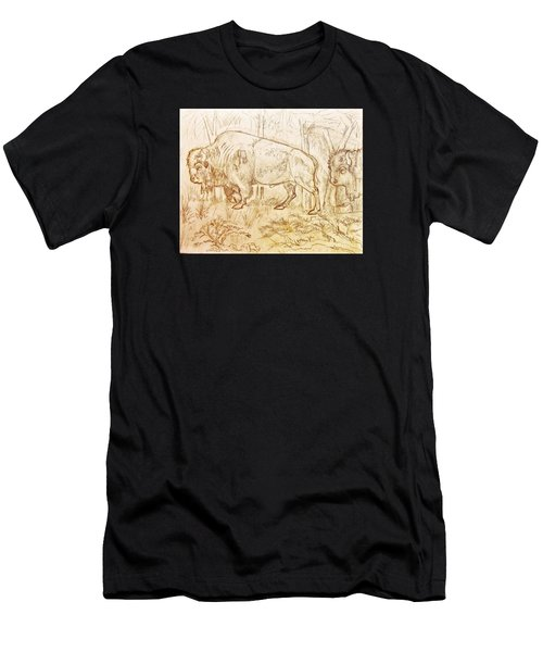Men's T-Shirt (Slim Fit) featuring the drawing Buffalo Trail  by Larry Campbell