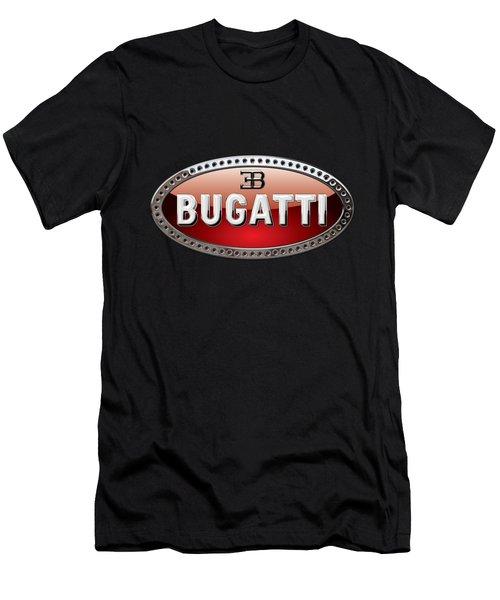 Bugatti - 3d Badge On Black Men's T-Shirt (Slim Fit) by Serge Averbukh