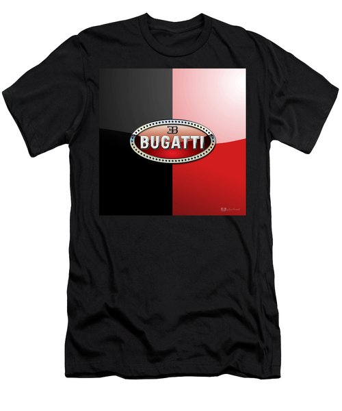 Bugatti 3 D Badge On Red And Black  Men's T-Shirt (Athletic Fit)