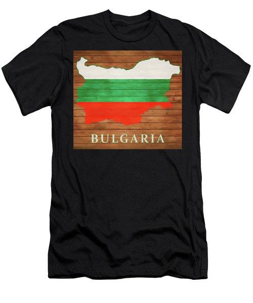 Bulgaria Rustic Map On Wood Men's T-Shirt (Athletic Fit)
