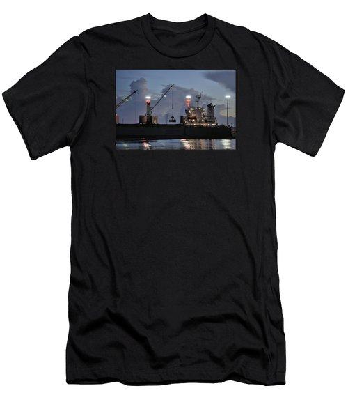 Bulk Cargo Carrier Loading At Dusk Men's T-Shirt (Slim Fit) by Bradford Martin
