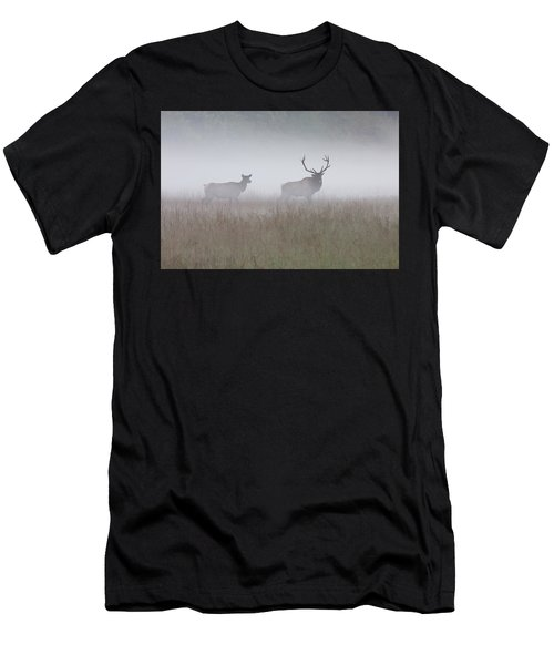 Bull And Cow Elk In Fog - September 30 2016 Men's T-Shirt (Athletic Fit)