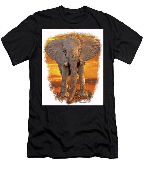 Men's T-Shirt (Athletic Fit) featuring the digital art African Bull Elephant by Larry Linton