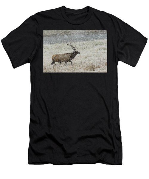 Bull Elk With Snow Men's T-Shirt (Athletic Fit)