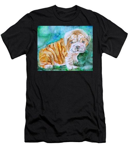 Bulldog Cub  - Watercolor Portrait Men's T-Shirt (Athletic Fit)