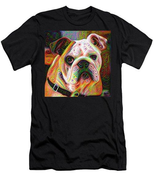 Bulldog Surreal Deep Dream Image Men's T-Shirt (Slim Fit) by Matthias Hauser