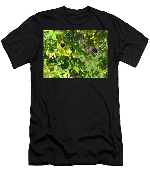 Bumblebee In Flight In Yellow Flowers Men's T-Shirt (Athletic Fit)