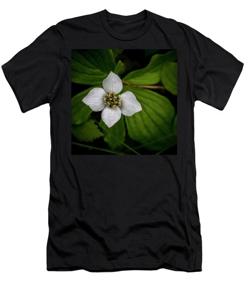 Men's T-Shirt (Slim Fit) featuring the photograph Bunchberry Dogwood On Gloomy Day by Darcy Michaelchuk