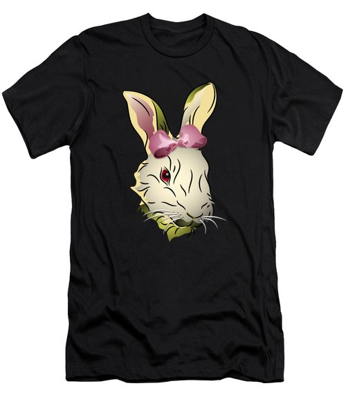 Bunny Rabbit With A Pink Bow Men's T-Shirt (Athletic Fit)