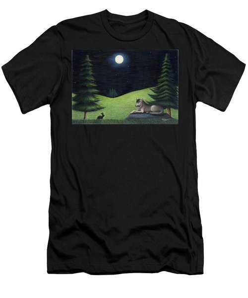 Bunny Visits Wolf Men's T-Shirt (Athletic Fit)