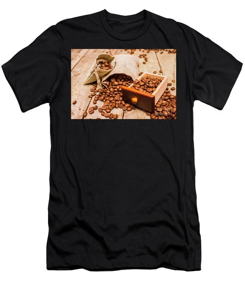 Burlap Bag Of Coffee Beans And Drawer Men's T-Shirt (Athletic Fit)